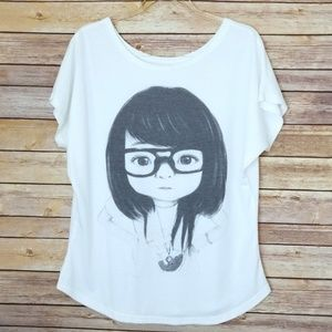 Tops - No Label Graphic Tee Girl in Glasses Hands on Hip